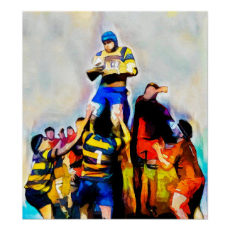 Lineout - Rugby-Wasserfarbe-Kunst-Druck Poster