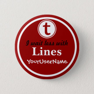 Linien Knopf - Entwurf 1 (Rot) Runder Button 5,7 Cm