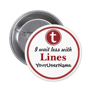 Linien Knopf - Entwurf 1 (Weiß) Runder Button 5,1 Cm