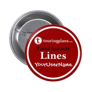 Linien Knopf - Entwurf 2 (Rot) Runder Button 5,7 Cm