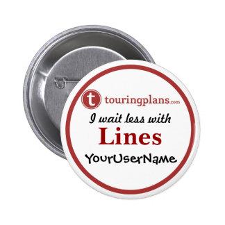 Linien Knopf - Entwurf 2 (Weiß) Runder Button 5,1 Cm