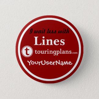 Linien Knopf - Entwurf 3 (Rot) Runder Button 5,1 Cm