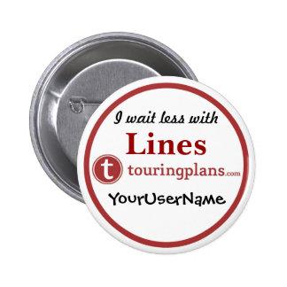 Linien Knopf - Entwurf 3 (Weiß) Runder Button 5,1 Cm