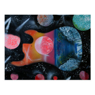 links tropisches spacepainting Thema der Postkarte