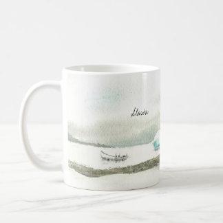 Linkshändige Alaska-Boots-Reise Kaffeetasse