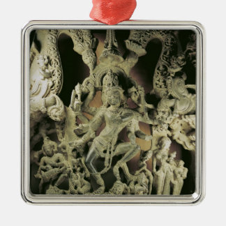 Lintel mit Shiva Nataraja, Kakatiya Dynastie Quadratisches Silberfarbenes Ornament