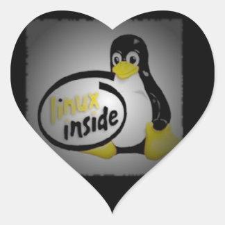 LINUX INNERHALB Tuxs das Linux-Pinguin-Logo Herz-Aufkleber