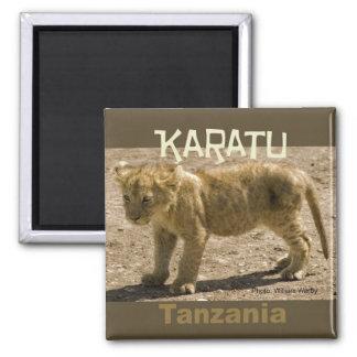 Lion CUB d'aimant de réfrigérateur de Karatu Tanza Magnet Carré