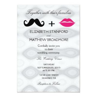 Lippen und Schnurrbart-Hochzeits-Einladung 12,7 X 17,8 Cm Einladungskarte