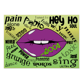 Lippen-und Wörter Plakat-Papier (Matt) Poster