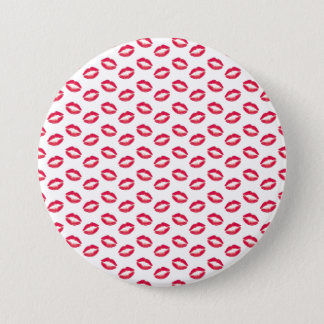 Lippenstift-Rosa-Küsse Runder Button 7,6 Cm