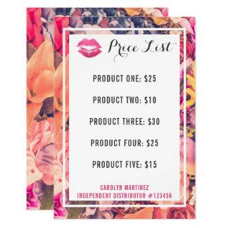 Lippenstift-Verteiler-Preisliste-Blumenkuss-Lippen 8,9 X 12,7 Cm Einladungskarte