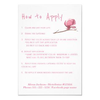 Lippenstiftverteiler-Anwendungsanweisungen 8,9 X 12,7 Cm Einladungskarte