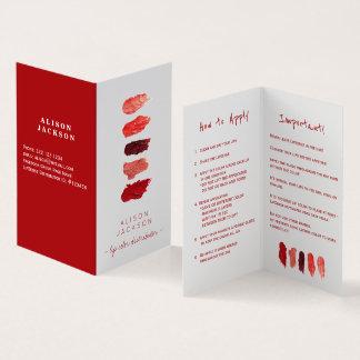 Lippenverteilerlippenfarbeswatces Visitenkarte Visitenkarten