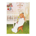Lisbeth avec une tulipe jaune impressions sur toile