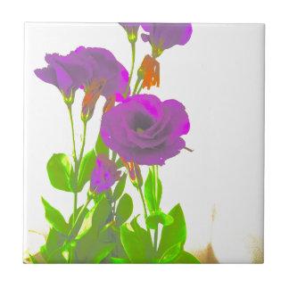 Lisianthus lila Blumen Keramikfliese