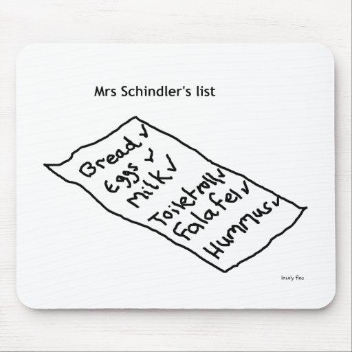 Liste Mousemat Frau Schindlers Mauspad