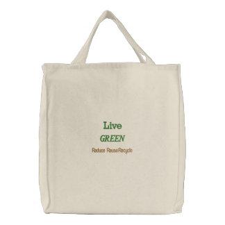 Live-GRÜN - Taschen-Tasche Bestickte Tragetasche