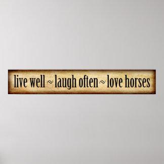 Live, Lachen, Liebe - Pferde Poster