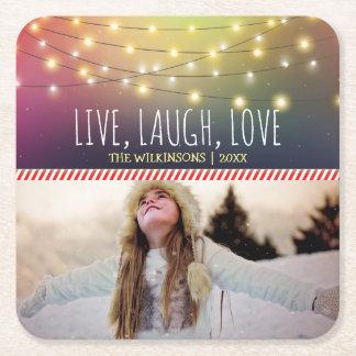 Live, Lachen, lustiger Feiertag des Rechteckiger Pappuntersetzer