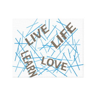 Live lernen Sie Liebe-Leben-Grau/Blau Leinwand Drucke