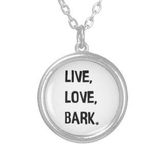 Live, Liebe, Barken-Halskette Versilberte Kette