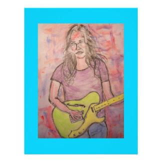 Live-Musik-Mädchen-Skizze 21,6 X 27,9 Cm Flyer