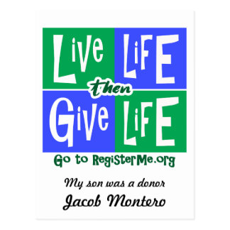 Liveleben geben dann Leben-Spender Postkarte