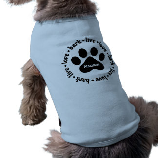 LiveLiebe-Barke Pawprint personalisierter Ärmelfreies Hunde-Shirt