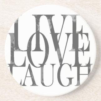 LiveLiebe-Lachen-Inspirational Zitat Sandstein Untersetzer