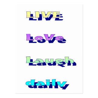LiveLiebe-Lachen täglich in den Multi-Farben Postkarte