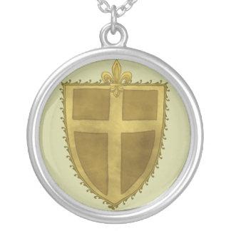 Locken-Lilien-Schild-Halskette Versilberte Kette