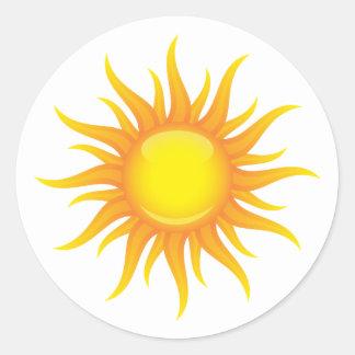 Lodernde Sonne Runder Aufkleber