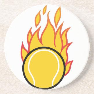 Lodernder Tennisball Sandstein Untersetzer