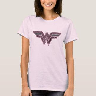 Logo rose et noir de femme de merveille de t-shirt