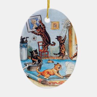 Lois Wains Frühjahrsputz-Katzen Keramik Ornament