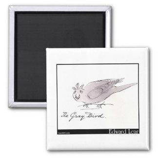 L'oiseau gris d'Edward Lear Magnet Carré