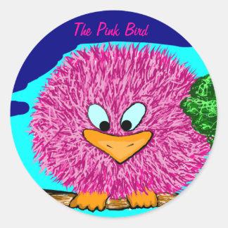 L'oiseau rose adhésif rond