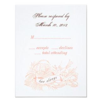 L'oiseau vintage épousant RSVP carde le rose Cartons D'invitation Personnalisés