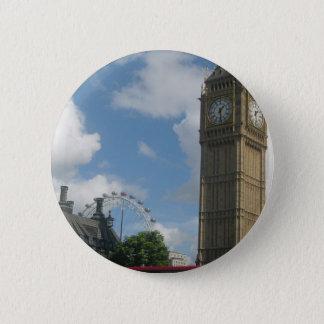 London-Auge u. Big Ben Runder Button 5,7 Cm