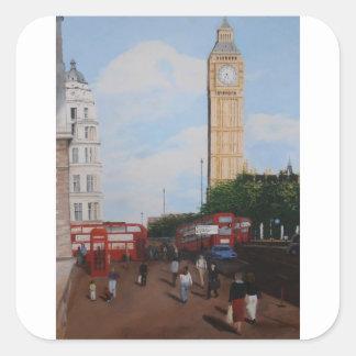 London-Ecke Quadratischer Aufkleber
