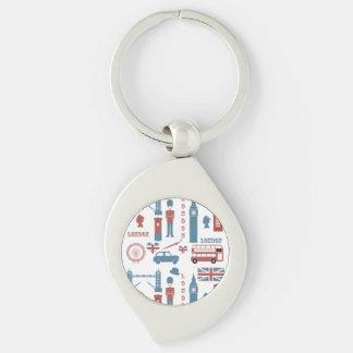 London-Ikonen-Retro Liebe-Andenkenmetallkeychain Silberfarbener Wirbel Schlüsselanhänger