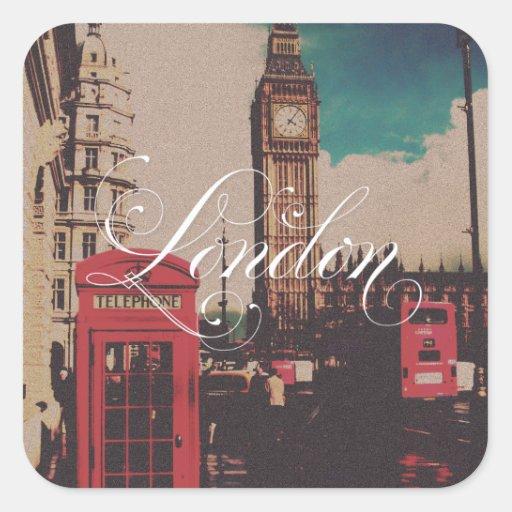 London-Sehenswürdigkeit-Vintages Foto Quadratsticker