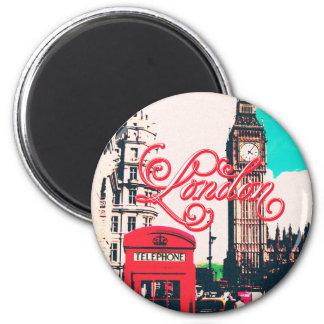 London-Sehenswürdigkeit-Vintages Foto Runder Magnet 5,7 Cm