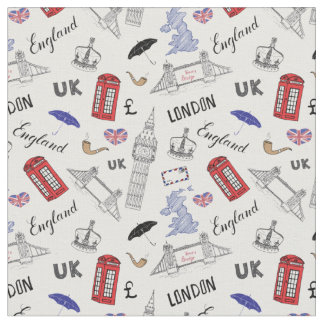 London-Stadt kritzelt Muster Stoff