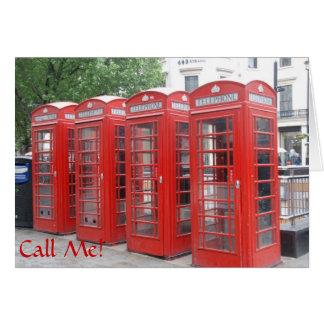 """London-Telefonzellegrußkarte mit """"Anruf ich """" Grußkarte"""