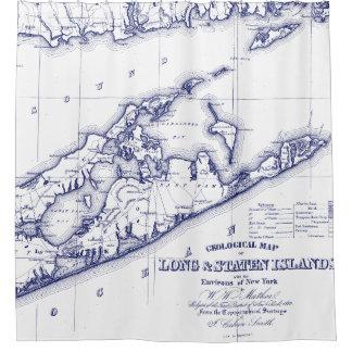 Long Island die Hamptons Karte VC Duschvorhang