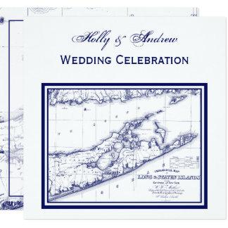 Long Island die Hamptons Karten-QUADRAT-Hochzeit Karte