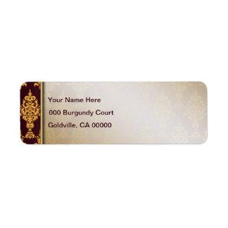 L'or de damassé sur Bourgogne a laissé la Étiquettes D'adresse Retour