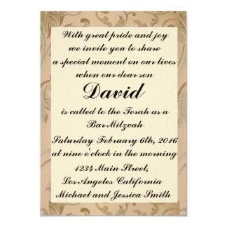 L'or fleurit des invitations de barre/bat mitzvah